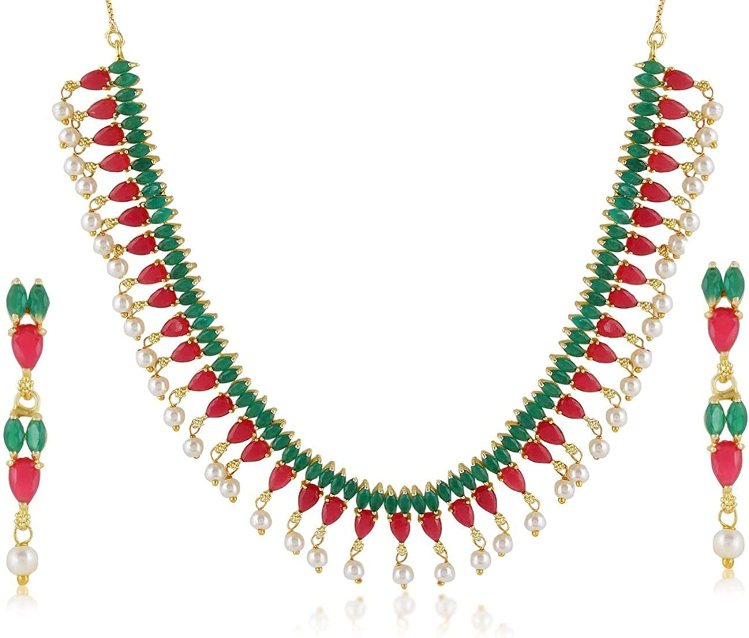 Efulgenz Indian Bollywood Gold Plated Green Crystal Rhinestone Faux Pearl Choker Necklace Dangle Earring Jewelry Set