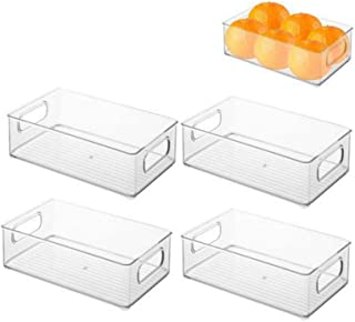 N/Y 1/4 Pack Bac Rangement frigo, boîte Alimentaire spacieuse en Plastique, boîte Conservation Alimentaire à poignées, Tra...
