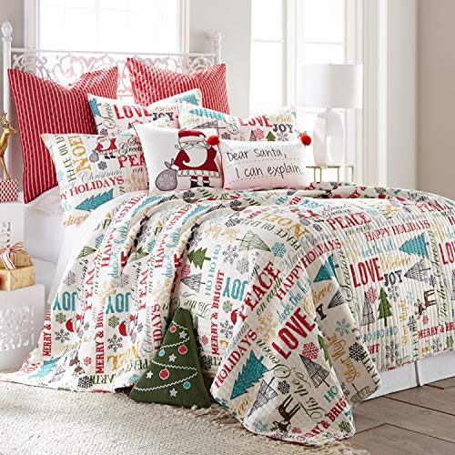 Levtex Home - Santa Claus Lane Quilt Set - Twin Quilt (68x86in.) + Two Standard Pillow Shams (26x20in.)- Christmas Script - Red, Teal, Yellow, Green, Black and White - Reversible