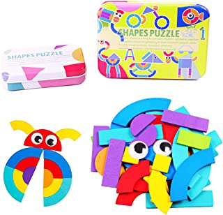 Wooden Pattern Blocks, Shape Jigsaw Puzzles Sorting and Stacking Games for Kids Early Educational Montessori Toy for Toddlers Boys Girls Age 3+ Years Old (38 Pieces&50 Double-Sided Cards)