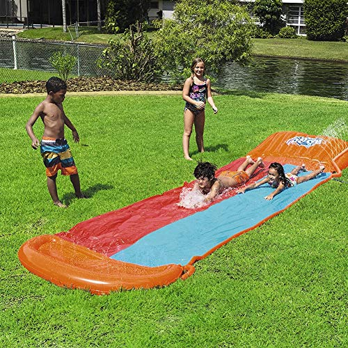 Great Deal! SDJIEMN Water Slide, Slip Slide Play Center with Splash Sprinkler Inflatable Crash Pad f...