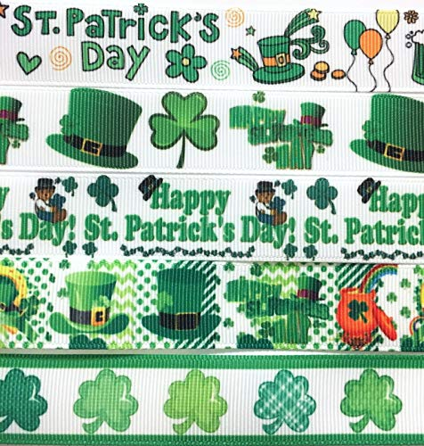 7/8 & 1 inch Grosgrain Ribbon 5 Yards Mixed LOT ST. Patrick's Day Printed are for Hair Bows Crafts Gifts and More.