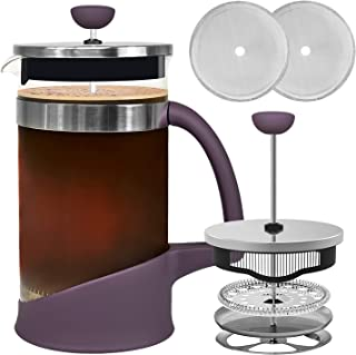 JOYEUX French Press Coffee Maker 4-6 Cup (34 oz) Coffee Press with 2 Extra French Press Filter screens Stainless Steel Coffee Filter