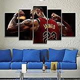 5 Stück Leinwand gedruckt Lebron James Sports Mauer Bilder