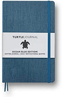 Quotes Planner by Turtle Journal - Best Motivational Daily Planner and Daily Productivity Planner - Undated Planner and Goal Setting Journal - 5x8 Hardcover Planner in Ocean Blue 2019/2020