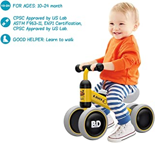 Mingzheng Baby Balance Bike for one Year Old Boys and Girls 4 Wheels Baby Toy Walker 6-24 Months No Pedal