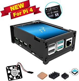 for Raspberry Pi 4 Touch Screen with Acrylic Grey Case, 3.5 inch Touchscreen with Mini Fan, 320x480 Pixel Monitor TFT LCD ...