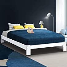 Artiss Double Bed Frame | Pine Wood Platform Bed Base | White