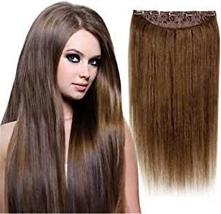 RemeeHi One Piece Clip In Hair Extensions Long Straight Human Hair Extensions 5 Clips Hairpieces For Women 40g 15cm 22 Inch Per Pack 60# Platinum Blonde