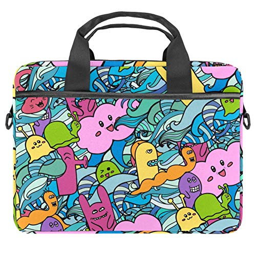 Cartoon Monsters Doodles Laptop Case Canvas Pattern Briefcase Sleeve Laptop Shoulder Messenger Bag Case Sleeve for 13.4-14.5 inch Apple MacBook Laptop Briefcase