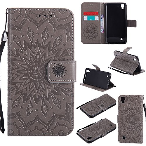 NEXCURIO [Embossed Flower] LG X Power Wallet Case with Card Holder Folding Kickstand Leather Case Flip Cover for LG X Power (Grey)