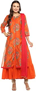 STOP By Shoppers Stop Womens Notched Floral Print Kurta with Inner and Dupatta Set