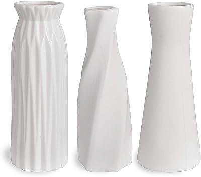 SANFERGE Set of 3 White Ceramic Vase 7 Inch Flower Vase Bottles for Home Décor Office Decoration Wedding Special Occasion Dried Floral Arrangements