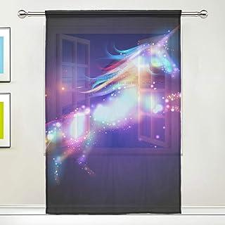 Rideaux de fenêtre Voile Tulle Unicorn Voile Rideau Motif Arc-en-Ciel, 1 Panneau pour la Chambre à Coucher Salon Cuisine C...