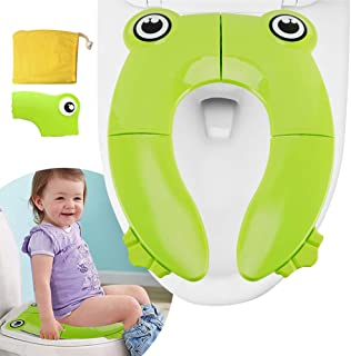 XCOZU Kids Foldable Toilet Seat, Non-slip Foldable Potty Seat for Travel/Home, Portable Folding Toilet Seat for Babies Toddlers Children Training (Frog Design, Green)