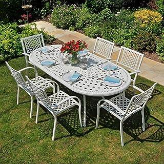 Lazy Susan - Catherine 210 x 105 cm Ovaler Gartentisch mit 6 Stühlen - Gartenmöbel Set aus Metall, Weiß (Kate Stühle)