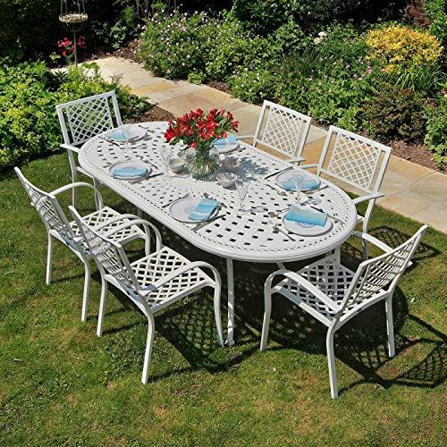 Lazy Susan - Catherine 210 x 105 cm Ovaler Gartentisch mit 6 Stühlen - Gartenmöbel Set aus Metall, Weiß (Rose Stühle)