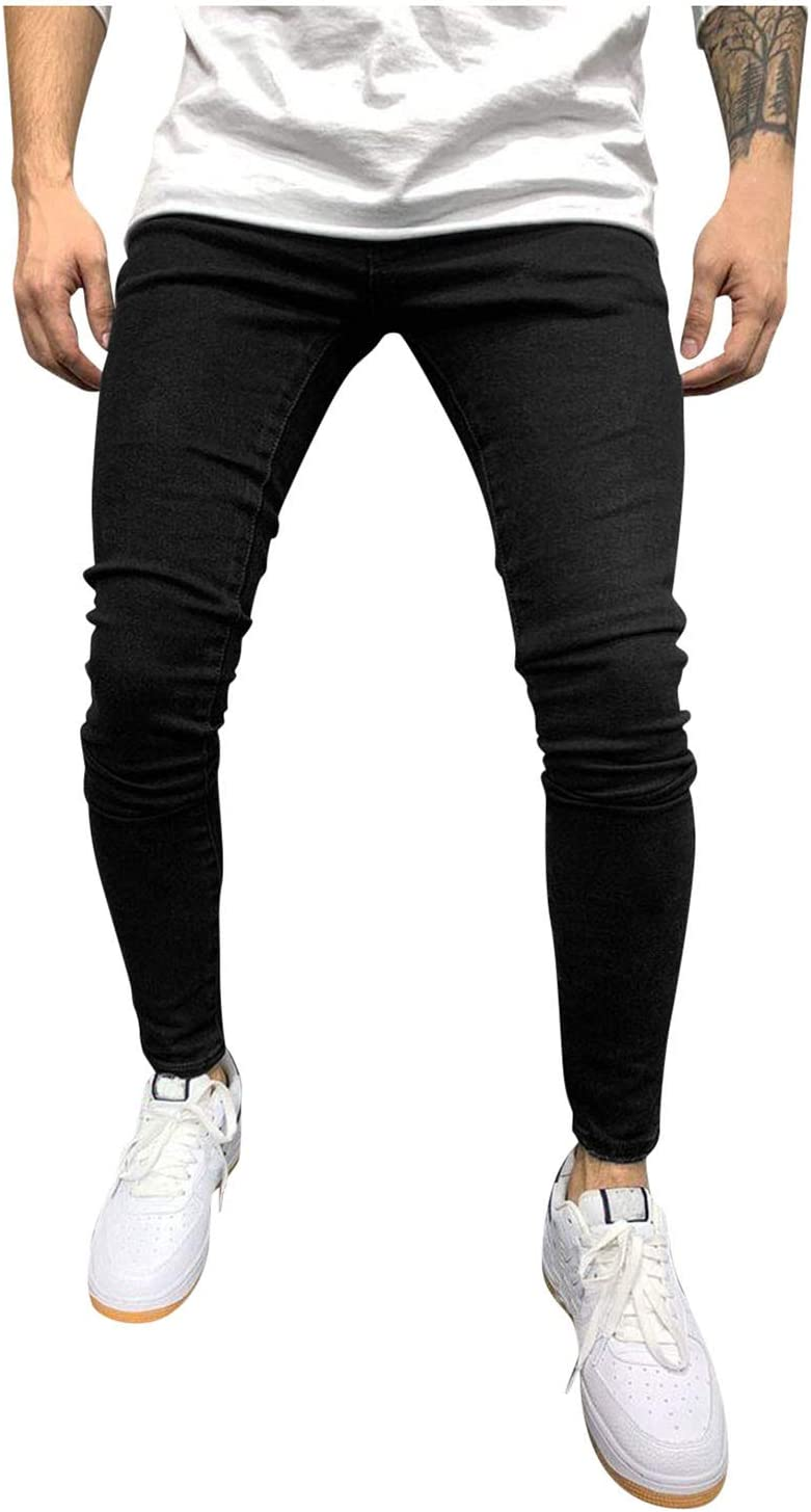 Spring new work Men's Relaxed Fit Jeans Mens Regular Skinny Classic Sl Jean Fees free