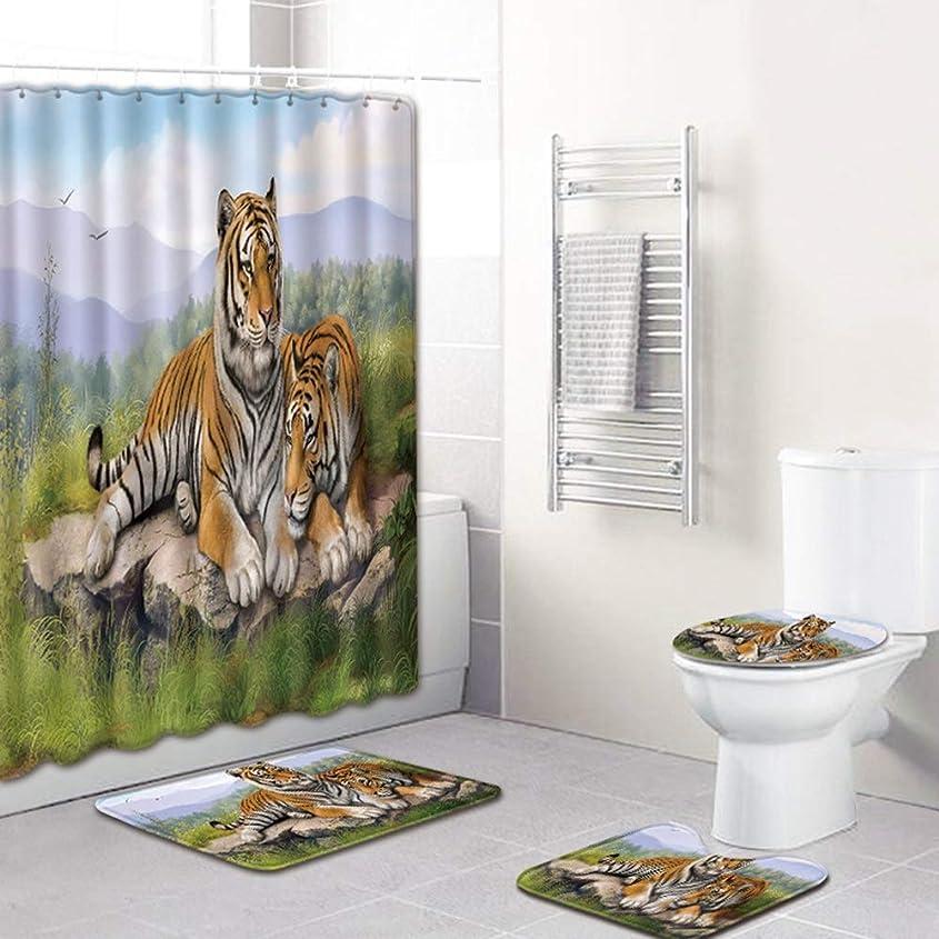 人種神社繊細バス用品 4ピースカーペットの吸水性は衰えません汎用性のある快適なバスルームマットは洗濯機で洗えますタイガーグループパターンシャワーカーテンフロアマットバスルームトイレシート 浴室用