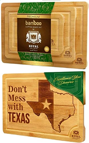 discount Bamboo Cutting Board Set and and State Cutting high quality Board for Kitchen – TEXAS discount by Royal Craft Wood online sale