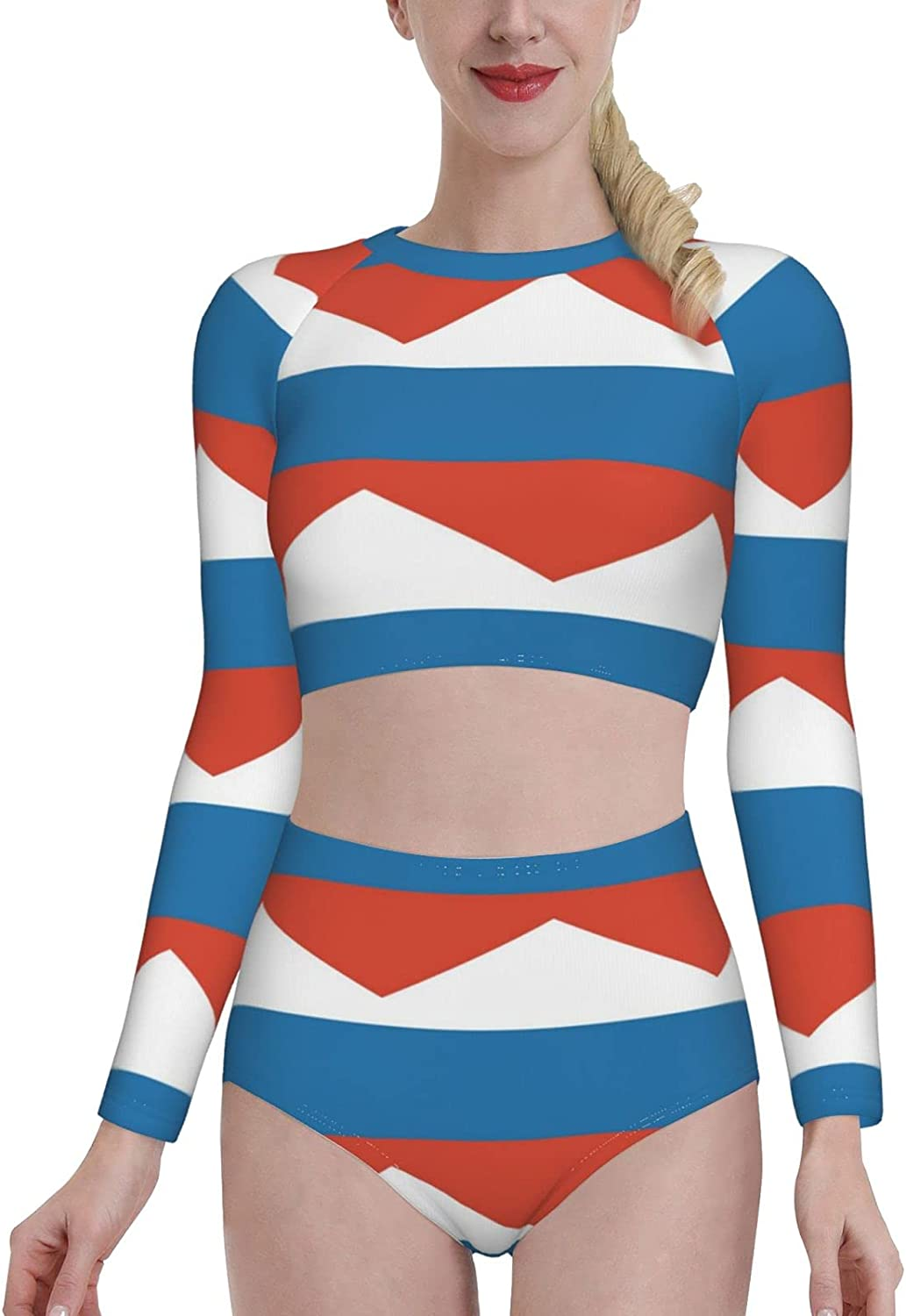 Retail Sign Systems Russian Flag Womens Two Piece Swimsuit Long Sleeve Rash Guard Swimwear