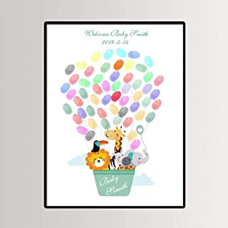 Fingerprint Painting Cartoon Woodland Animal Hot Air Balloon,Baby Shower,Baby Baptism or Birthday Party Guest Book Signing Canvas 11.8X15.7