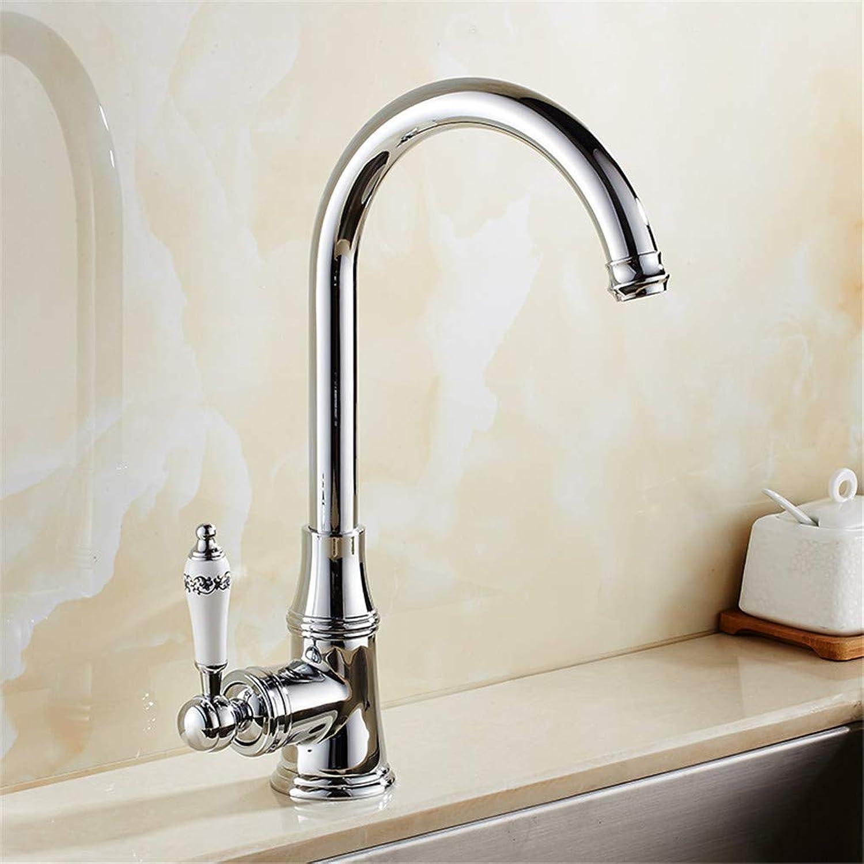 Wasserhahn Kitchen Faucet 360 Swivel Basin Faucet Brass Hot Cold Mixer Sink Tap Porcelain Handle Chrome Single Handle 360°Rotation Swivel Spout ,Chrome