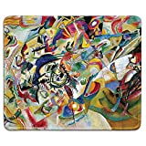 dealzEpic - Art Mousepad - Natural Rubber Mouse Pad with Famous Abstract Fine Art Painting of Composition VII (Composition 7) by Wassily Kandinsky - Stitched Edges - 9.5x7.9 inches