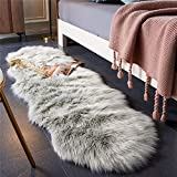 EasyJoy Ultra Soft Fluffy Rugs Faux Fur Rug Chair Cover Seat Pad Fuzzy Area Rug for Bedroom Floor Sofa Living Room (2 x 6 ft Sheepskin, Light Grey)