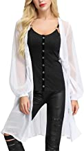 Womens Sheer Cardigan Sweaters Sun-Proof Kimono Button Cover Up Blouse Tops