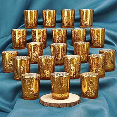 DEVI Gold Votive Candle Holders(24pcs)- Mercury Glass Tealight Candle Holder Bulk- Centerpieces for Wedding Table,Party and Home Decor
