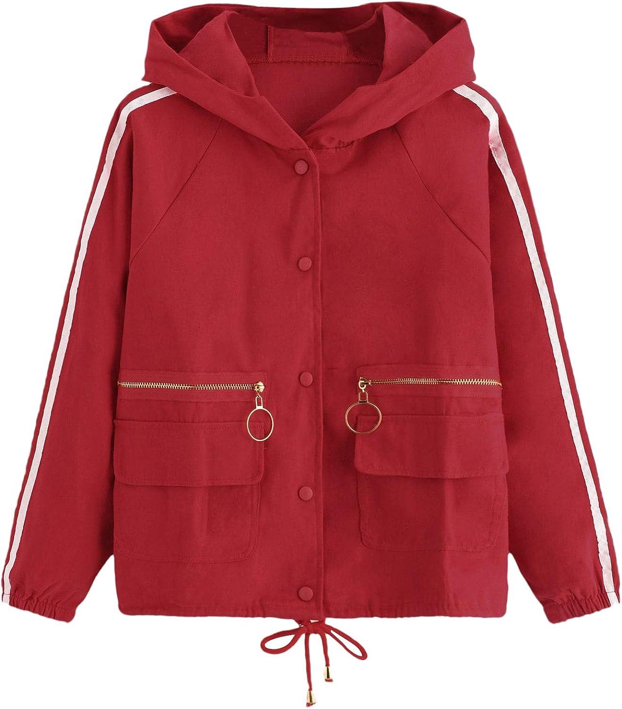 Floerns Women's Long Sleeve Drawstring Hem Hooded Jacket