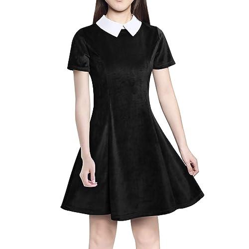 Nashion Women s Casual Short Sleeve Doll Collar Velvet Mini Dress 9c7c44885