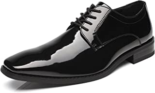 Tuxedo Oxford Patent Leather Plain Toe Wedding Dress Shoes for Men Lace up Comfortable Formal Business Shoes