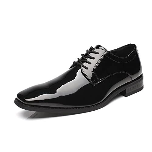 Pair of White Patent Leather Like Dress Shoes with Flower on the Toe