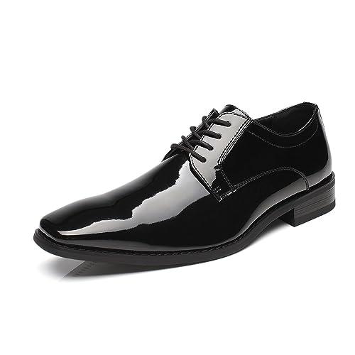 Men/'s Synthetic Leather Wedding Formal Dress Black Plain Toe Oxfords Work Shoes