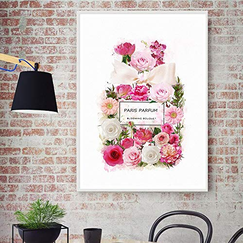 LWJZQT canvas prints Mode Bloem Parfum Fles Bloom Rose Posters En Prints Moderne Kunst Canvas Schilderen Muur Foto's Voor Woonkamer Home Decor