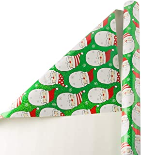 JAM PAPER Wide Gift Wrap - Christmas Wrapping Paper - 40 Sq Ft - Green Holographic Santa - Roll Sold Individually