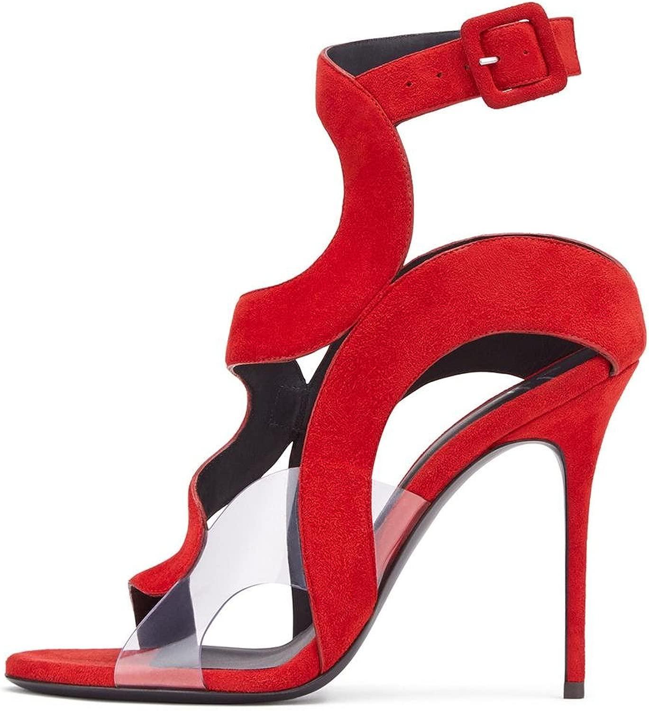 Donna Sexy alto Tacco seali Stiletto Sautope scamosciato Sbirciare Dito del piede Caviglia cinghie Rosso Blu Estate Festa Vestito Discoteca , EUR 44  UK 10