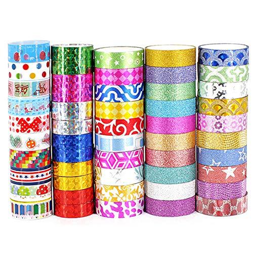 TOCYORIC 52 Rouleaux Washi Tape, Ruban Adhésif Décoratif, Multi-Pattern Decorative Tape Craft Supplies, Ruban Adhésif en Washi pour Journal, Ruban Adhésif Décoratif pour Artisanat