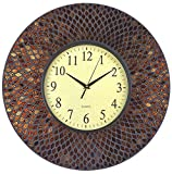 LuLu Decor, 19' Amber Comb Mosaic Wall Clock with Black Cement, Arabic Number Glass Dial 9.5' for Living Room & Office Space (LP73)