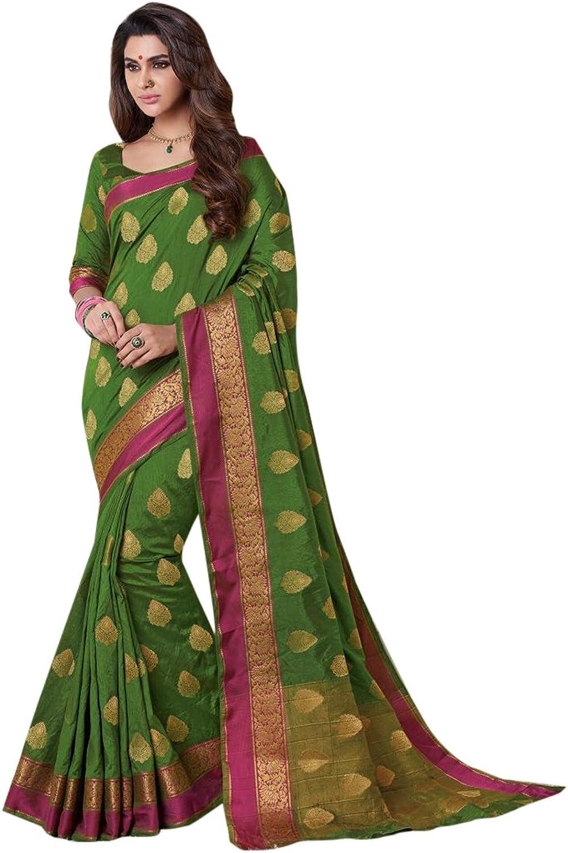 Bollywood Wedding Zari Saree Collection Silk Sari Blouse Formal Designer Women Indian Ethnic 2689