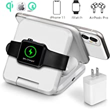 Qi Wireless Charger, 3 in 1 Portable Foldable Wireless Charging Station Dock Designed for Apple Watch, Wireless Airpods, iPhone 11 11 pro 11 Pro Max Xs X Max XR X 8 8 Plus with 30W PD Charger (White)