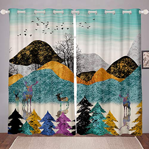 Erosebridal Deer Window Curtains Teal Rolling Mountain Curtain Panels for Kids Girls Women Taiga Forest Wild Animal Window Drapes Elk Reindeer Nature Window Treatments Bedroom Decor 38W x45L Yellow