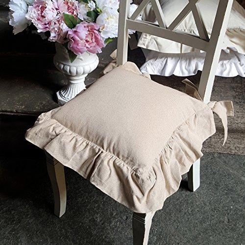 AT17 Coussin de Chaise à Volant, Galette de Chaise Volantée Shabby Chic et Romantique - Volant - 40x40 - Beige - 90% Coton / 10% Polyester