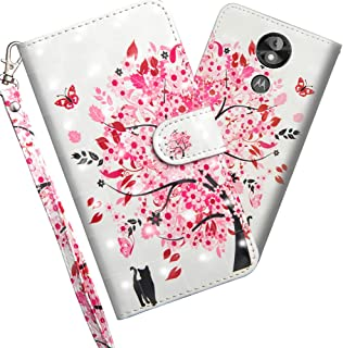 LEECOCOO Case for Motorola E5 Play Go Premium Flip PU Leather Wallet Case with Kickstand Card Cash Holder Slots Wrist Strap Protective Case Cover for Motorola Moto E5 Play Go 3D Cat Tree YX