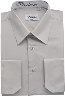 a4ace54acb3 Berlioni Italy Men s Luxe Dress Shirt French Convertible Cuff Button Down  Silver