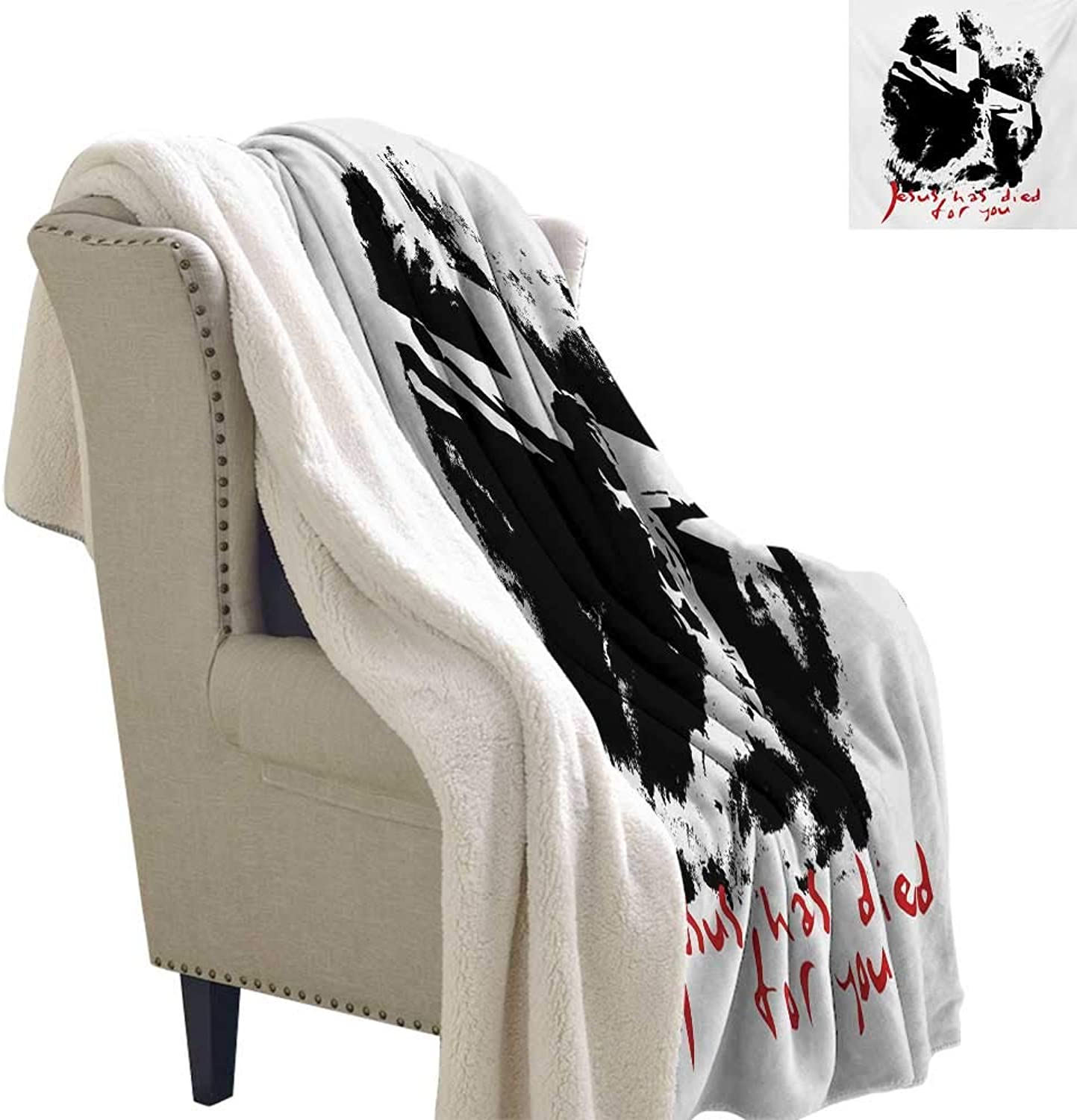 Quote Berber Fleece Blanket 60x47 Inch Grunge Style Image on The Cross Scenery and He Has Died for Your Sins Phrase Warm Breathable Comforter for Girls Kids Adults Black White Red