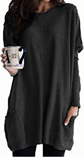 Casual Tops Womens Casual Long Sleeve Pullover Round Neck T Shirts Blouses Sweatshirts Tops with Pockets Tee (Color : Blac...