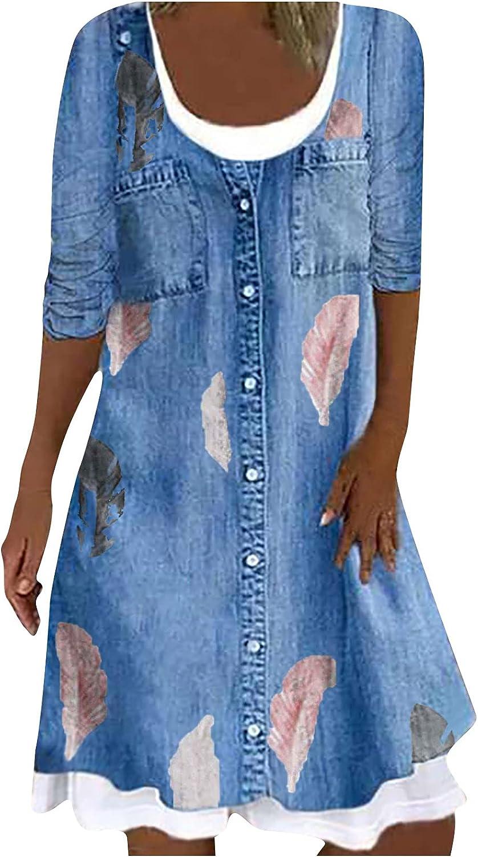 Women's Long Sleeve Midi Denim Dress Pocket Casual Loose Crew Neck Patchwork Button Retro Printed Jean Shirt Dress